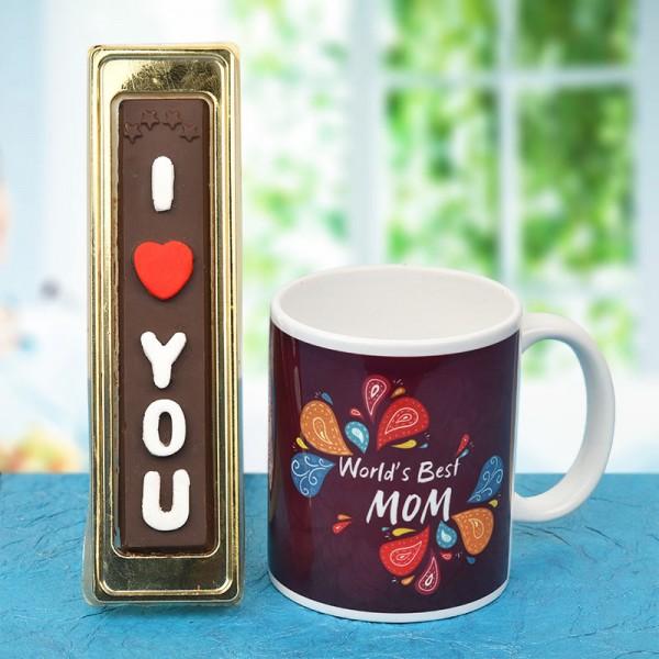 Printed Coffee Mug for Mom with Homemade Chocolate