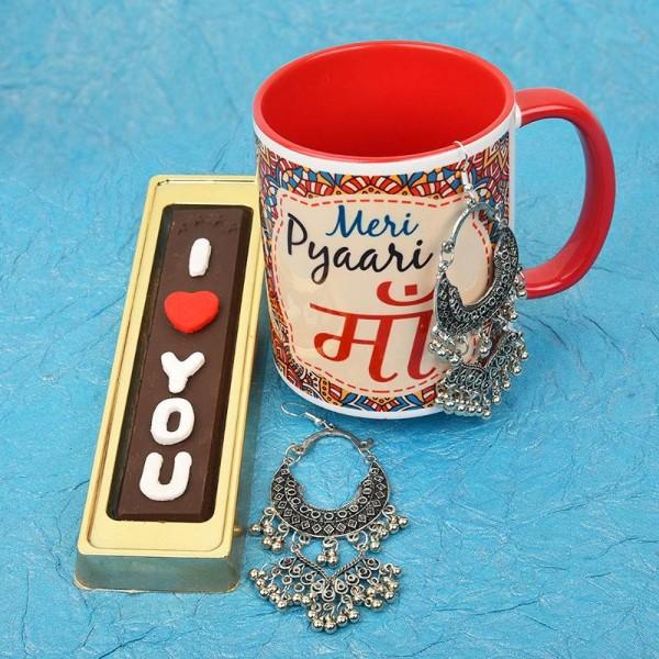 Ma Printed Mug with Homemade Chocolate and Earrings