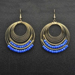 Blue Circular Earrings