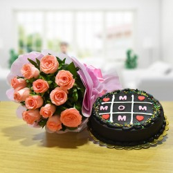 Pink Roses N Chocolate Cake For Mom