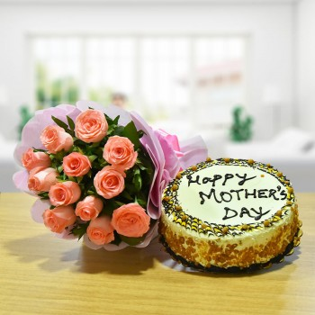 12 Pink Roses Bouquet with Half Kg Butterscotch Cake for Mothers Day