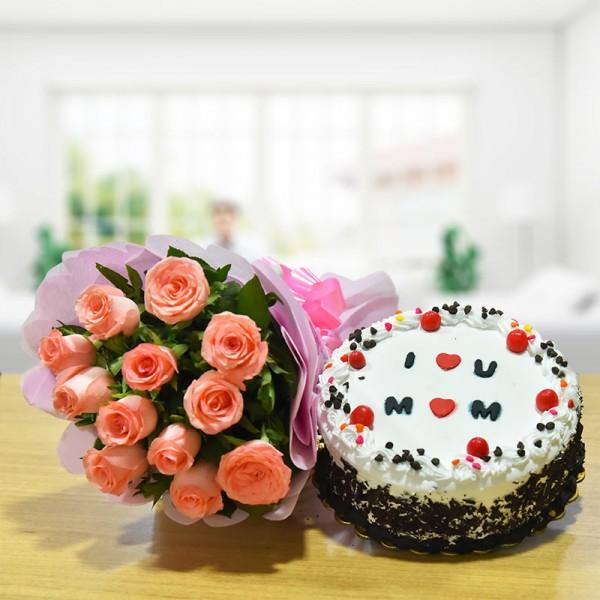 Pink Roses N Black Forest Cake For Mom