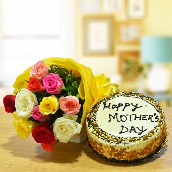 12 Mixed Roses Bouquet with Half Kg Butterscotch Cake for Mothers Day