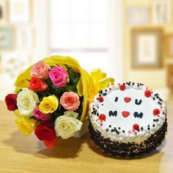 12 Mixed Roses Bouquet with Half Kg Black Forest Cake for Mom