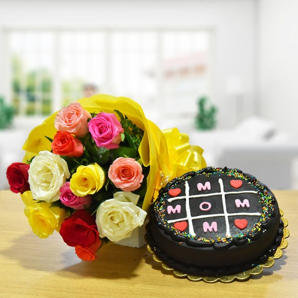 12 Mixed Roses with Half Kg Chocolate Cake for Mother