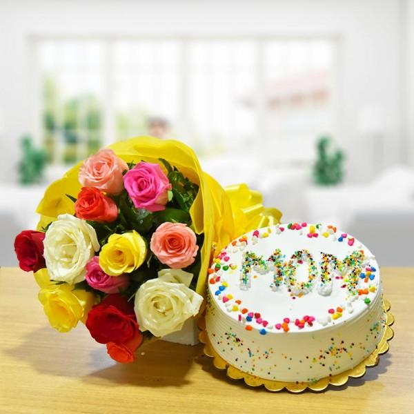 Mixed Roses N Pineapple Cake For Mom
