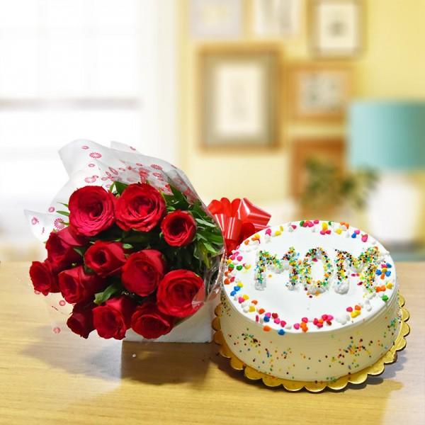 Red Roses N Pineapple Cake For Mom