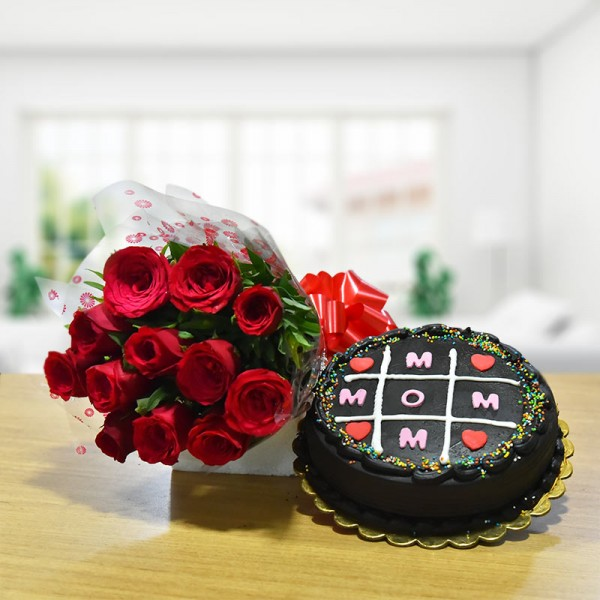 12 Red Roses Bunch with Half Kg Chocolate Cake for Mom