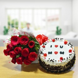 Red Roses N Black Forest Cake For Mom
