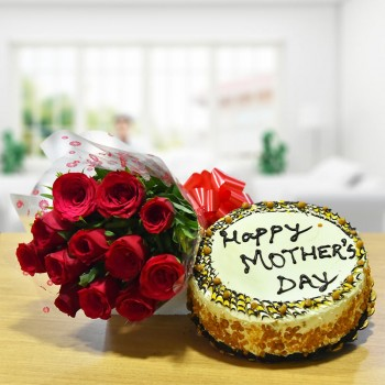 12 Red Roses Bunch with Half Kg Butterscotch Cake for Mothers Day