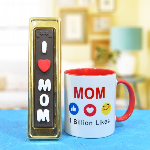 Printed Coffee Mug for Mom with 5 Pcs Homemade Chocolate