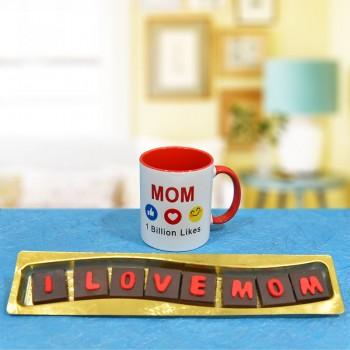 One Printed Ceramic Mug for Mom and Pack of 7 pcs Handmade I Love Mom chocolates