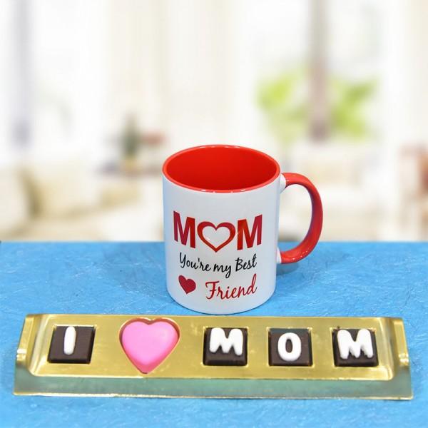 Printed Coffee Mug for Mom with Homemade Chocolates