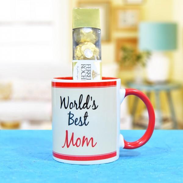 Best Mom Printed Mug with Ferrero Rocher Chocolate