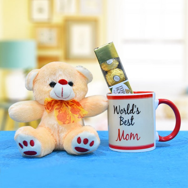 Printed Coffee Mug with Teddy and Ferrero Rocher Chocolate for Mother
