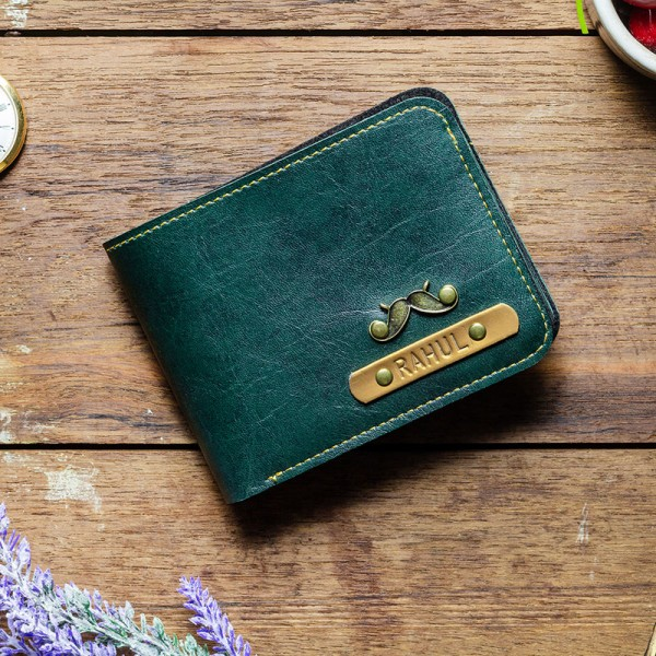 Teal Green Personalized Mens Wallet