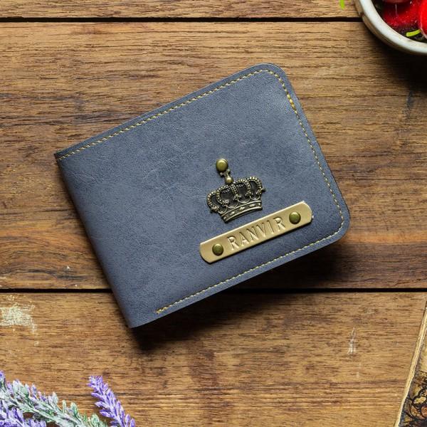 One Personalised Grey Mens Wallet