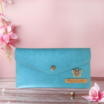 Blue Colour Personalised Purse For Women