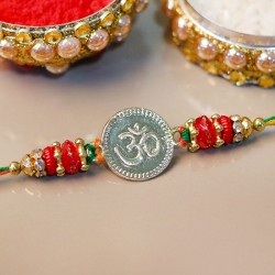 Silver Polished Om Rakhi
