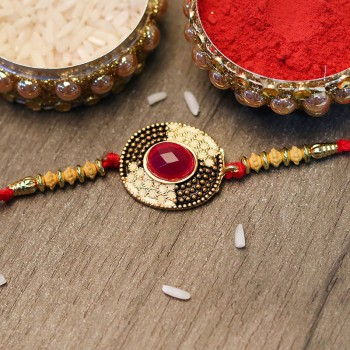 Enthralling Red Stone Rakhi