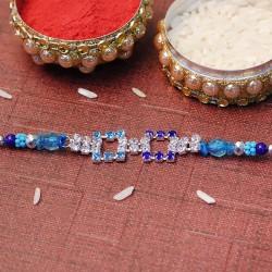 Designer Blue Stone Rakhi