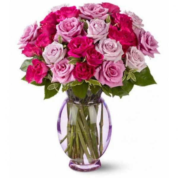 10 Pink Roses and 10 light Pink Roses in a Glass Vase