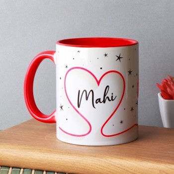 One Personalised Name Red Handle Ceramic Mug