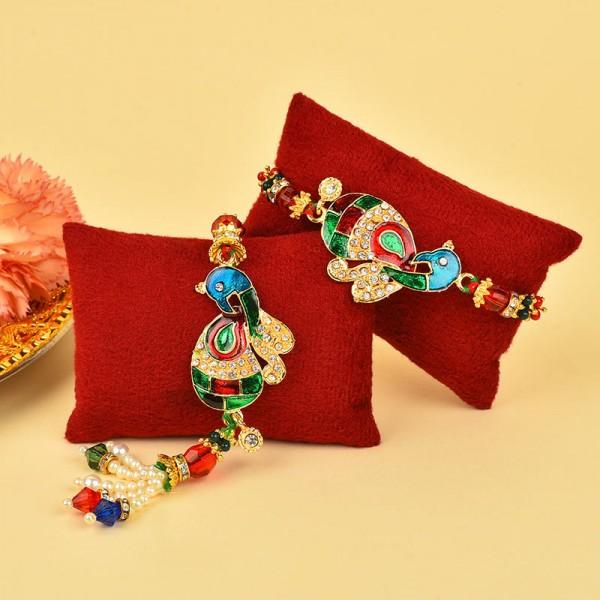 Peacock Lumba Rakhi Set