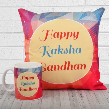 Happy Raksha Bandhan Coffee Mug and Cushion
