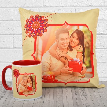 Raksha Bandhan Combo of Personalised Cushion and Coffee Mug