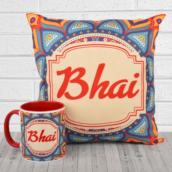 Traditional Design Printed Cushion and Mug for Brother
