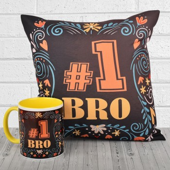 No 1 Bro Printed Cushion and Mug Combo