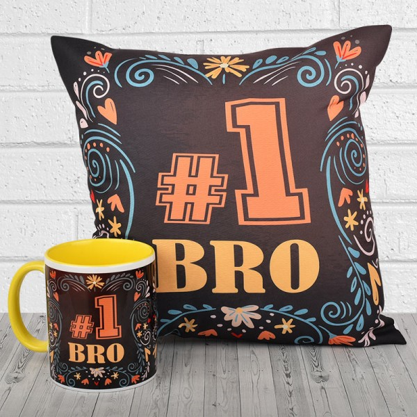 No 1 Bro Printed Cushion and Mug Combo