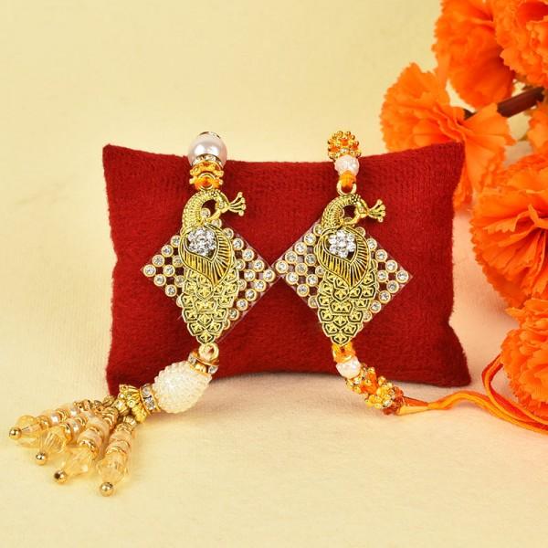 Designer Peacock Lumba Rakhi Set