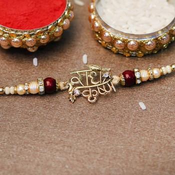 Lustrous Radhe Krishna Gold Rakhi