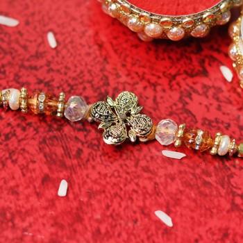 Classic Gold Crystal Rakhi