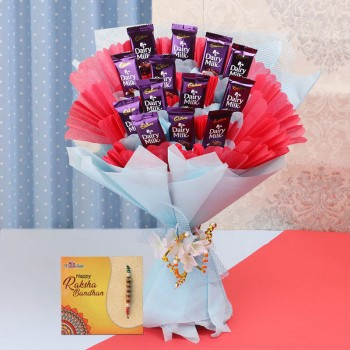 Basket of chocolates with Pearl Rakhi
