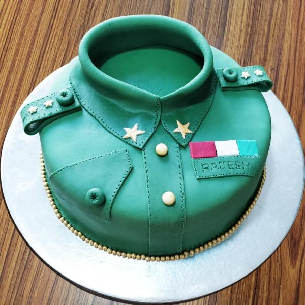 One Kg Army Theme Chocolate Fondant Cake