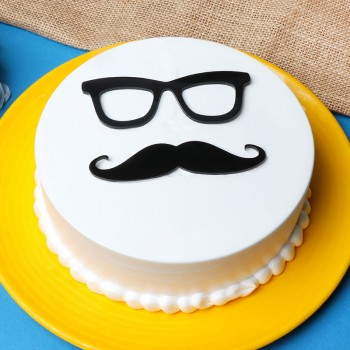 alf Kg Vanilla Cream Cake decorated with Fondant Specks and Mustache