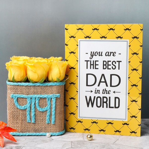 """One Glass Vase Arrangement of 9 Yellow Roses with Glass Vase Wrapped with jute and """"Papa"""" wriitten on it"""