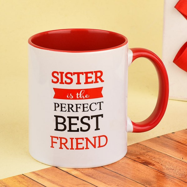 Printed Quote Red Handle Mug for Sister