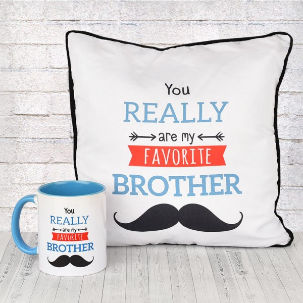 Funky Quote Printed Mug and Cushion for Brother