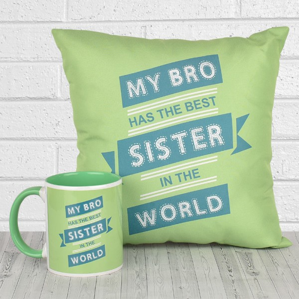 Funky Quote Printed Mug and Cushion for Sister