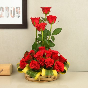 Basket Arrangememt of 18 Red Roses