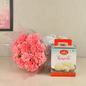 10 Pink Carnations Bouquet with 1 Kg Haldiram Rasgulla