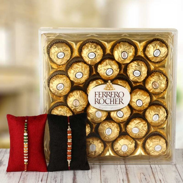 2 Rakhi with 24 pcs Ferrero Rocher