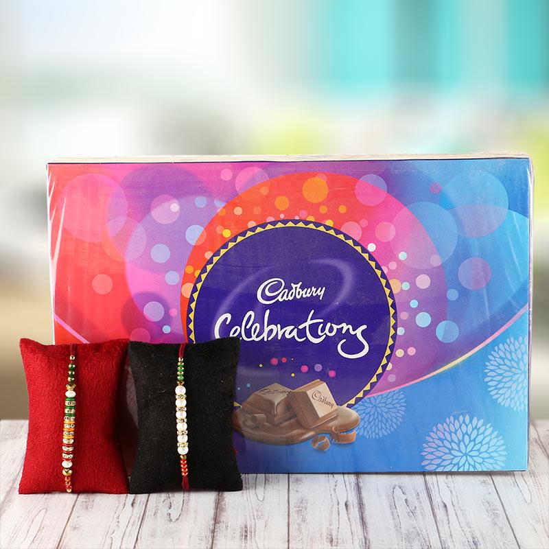 2 Rakhi with Cadbury celebration Pack