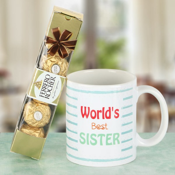 Best Sister Printed Mug and Ferrero Rocher Chocolate