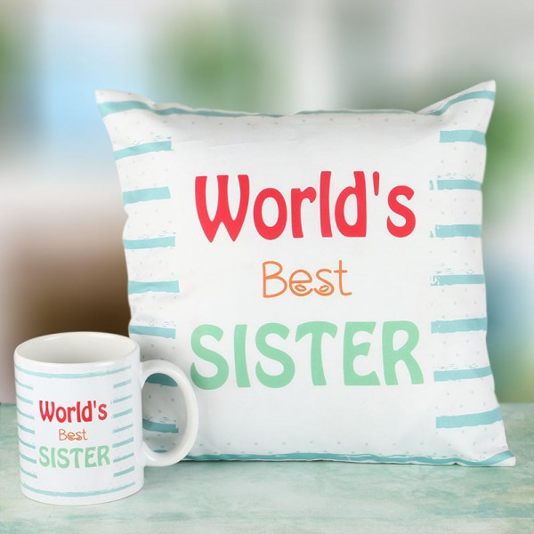 Best Sister Cushion Mug Combo