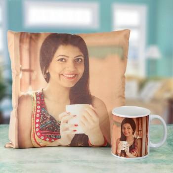 Personalised Rakhi Combo of Coffee Mug and Cushion for Sister